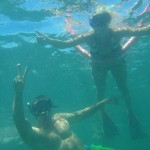 Snorkelers from under water
