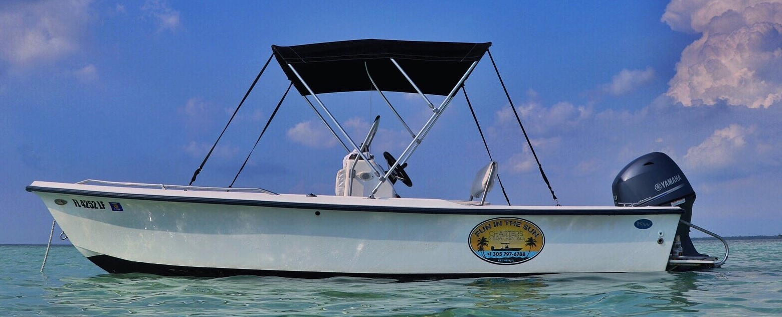 17 foot Key West bay boat with 70 horse power four stroke Yamaha