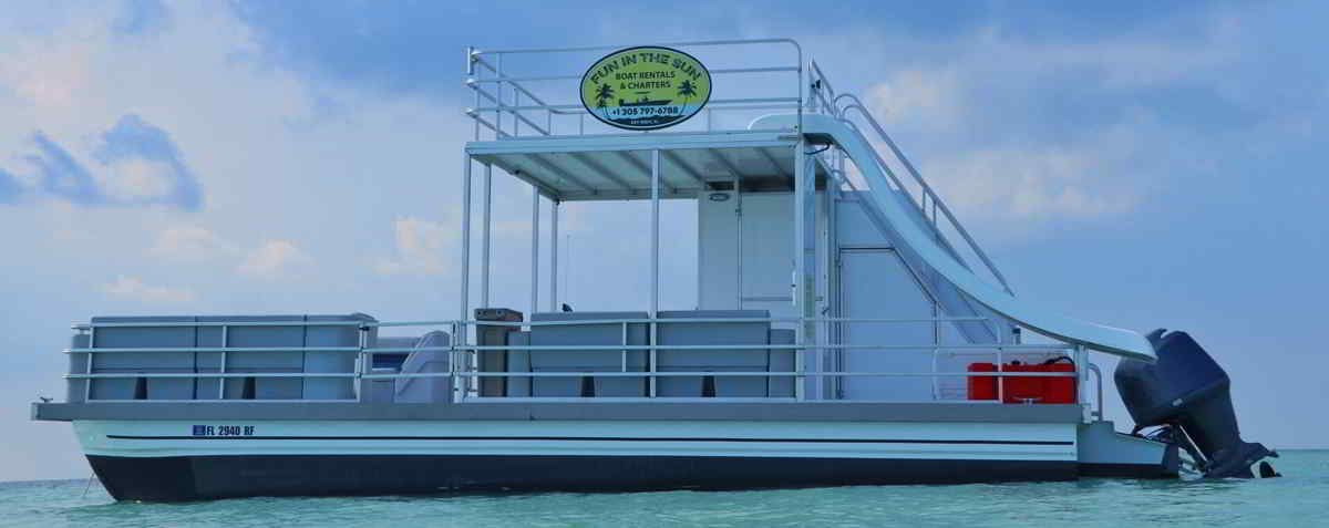 30 foot Double Decker Saltwater Pontoon Boat with slide
